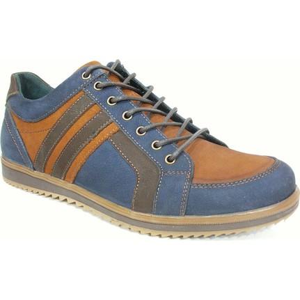 Pepita 2829 Lacivert Kahverengi Bağcıklı Casual Erkek Ayakkabı