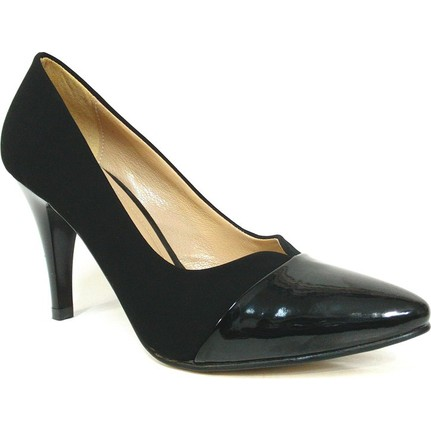 Zenay 1302 Siyah Nubuk Rugan Deri Stiletto Bayan Ayakkabı