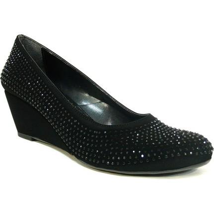 Şener 911 Siyah Nubuk Dolgu Topuk Kadın Ayakkab