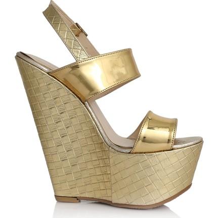 EsMODA Cc-3001 Altın Ayna Dolgu Topuklu Ayakkabı