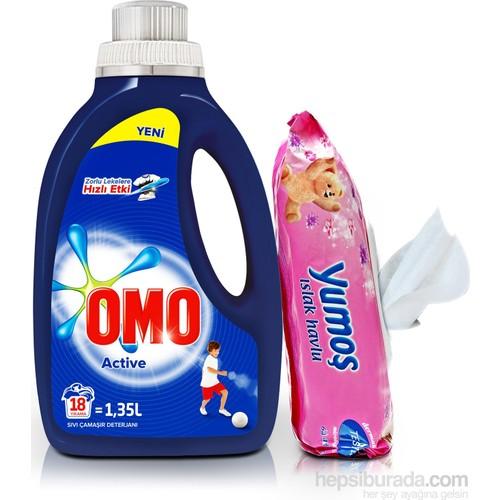 Omo Sıvı Çamaşır Deterjanı Actıve 1350 ML + Yumoş Islak Mendil Set