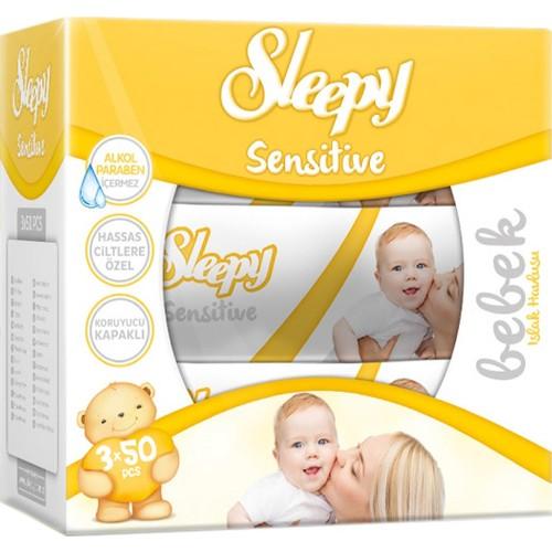 Sleepy Islak Mendil Sensitive Petek Dokulu Kapaklı Ambalaj 3'lü