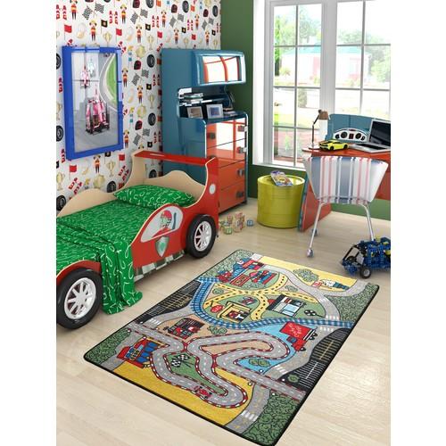 Confetti Race 100X150 Cm Yeşil Çocuk Halısı