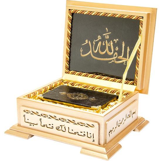 Hayrat Ahşap Kutulu Kur'an (B.Cep Sarı Kutulu)