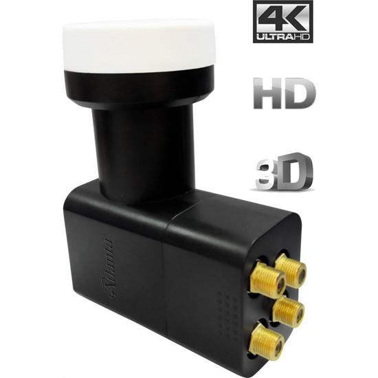 Atlanta Ultra Quad Dörtlü Dört Çıkışlı 4K Full HD LNB (Gold Konnektör/4 Uydu Alıcıda Kullanım)