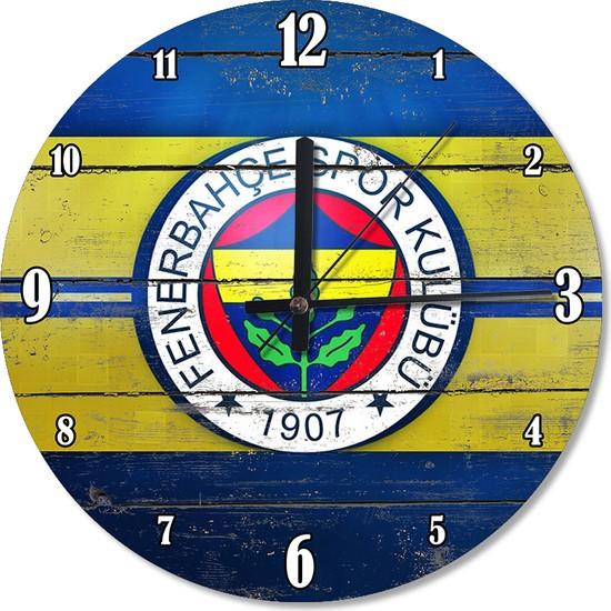 Tablomega Ahşap Zeminde Fenerbahçe Akarlı Duvar Saati