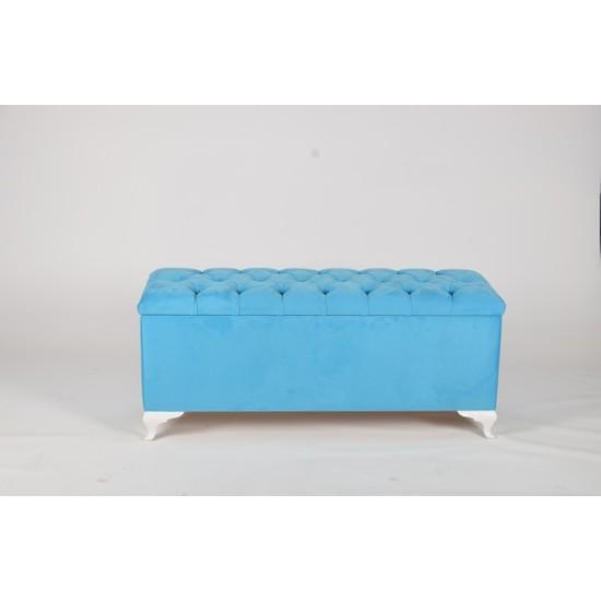 Dekoroda Sandıklı Puf - Mavi