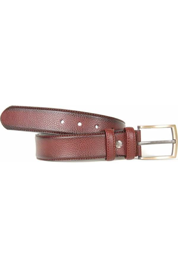 Süzer Artificial Leather Stitched Belt 4 cm Bordeaux - 7400-7