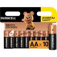 Duracell Alkalin AA Kalem Piller, 10'li paket