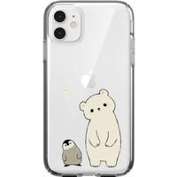 Moodcase Apple iPhone 11 Penguen ve Ayıcık Desenli Şeffaf Telefon Kılıfı
