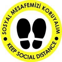 Weppe Sticker Sosyal Mesafe Zemin Uyarı 20 x 20 cm Sarı Türkçe-İngilizce Etiket Sticker C19-20