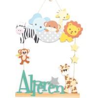 Meşgalem İsme Özel Bebek Odası Ahşap Kapı Süsü Hayvanat Bahçesi