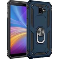 Herdem Samsung Galaxy J4 Plus Kılıf Yüzüklü Çift Katmanlı Zırh Tam Koruma Silikon - Lacivert