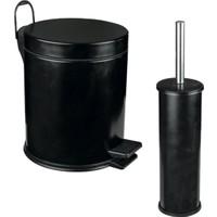 Maxiflow 2'Li Tuvalet Çöp Kovası Ve Tuvalet Fırça Set - Mat Siyah