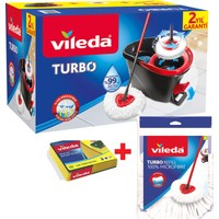 Vileda Turbo Pedallı Temizlik Seti + 1 Adet Turbo Yedek Başlık+1 Adet Sünger