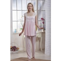 Emose Dantelli Lohusa Kadın Pijama Pembe