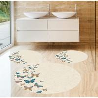 Evpanya Renkli Kelebekler 3'lü Banyo Paspas Seti