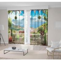 Henge Dağ ve Deniz Manzaralı Çiçekli Balkon Fon Perde 150 x 160 cm