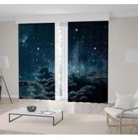 Henge Gri Bulut Gece Gökyüzü Desenli Fon Perde 150 x 160 cm