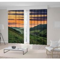 Henge Gün Batımı Yeşil Yayla Manzaralı Desen Fon Perde 300 x 160 cm