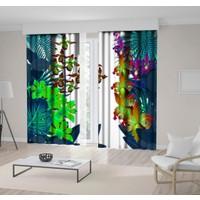 Henge Neon Renklerde Karşılıklı Dallı Tropik Çiçekler Desenli Fon Perde 300 x 160 cm