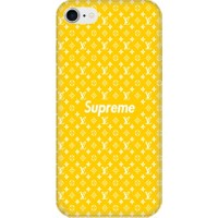 Casethrone Apple iPhone 7 Sarı İçi Kadife Silikon Telefon Kılıfı Sr64 Supreme Louisvition