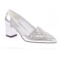 DGN 65 Kadın Taşlı Sivri Burun Yanı Transparan Kısa Topuklu Ayakkabı 20Y