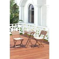 Meya Dekor Bahçe Mutfak Balkon Takımı 3'lü Bistro Set Minderli