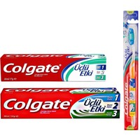 Colgate Üçlü Etki Diş Macunu 100 ml + Colgate Üçlü Etki Diş Macunu 50 ml + Üçlü Etki Diş Fırçası