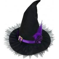 Kostümce Cadı Şapkası Yetişkin Lüx Model