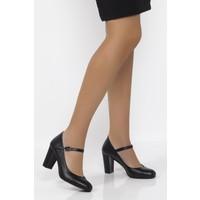 Deripabuc Hakiki Deri SİYAH Kadın Topuklu Klasik Ayakkabı SHN-0278