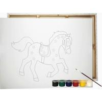 Desenli Tuval At ve Renkli Guaj Boya 6'lı - Fırça Seti 25 x 35 cm