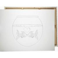 Desenli Tuval Fanusta Balıklar 25 x 35 cm