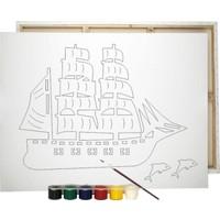 Desenli Tuval Gemi ve Renkli Akrilik Boya 6'lı - Fırça Seti 25 x 35 cm