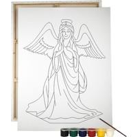 Desenli Tuval Melek ve Renkli Guaj Boya 6'lı - Fırça Seti 25 x 35 cm