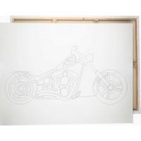 Desenli Tuval Motorsiklet 25 x 35 cm