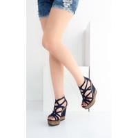 Fox Shoes Lacivert Kadın Dolgu Topuklu Ayakkabı B674082202