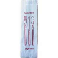 Anadolu Kağıtçılık Çatal Kaşıklık Kese Kağıdı -Çatal Kaşık Bıçak Baskılı- Beyaz Sülfit 40 G Ithal 8 x 28 cm 10 kg 2500 Adet