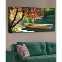 Shop365 Kayık Göl Manzara Kanvas Tablo 120 x 60 cm
