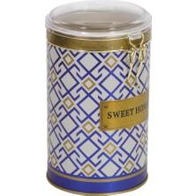 Evle Sultan Desenli Plastik Kapaklı Metal Erzak Saklama Kabı 1.6 lt - Mavi Beyaz