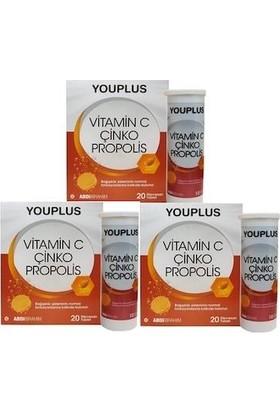 You Plus Vitamin C Çinko Propolis 20 Efervesan Tablet 3 Paket