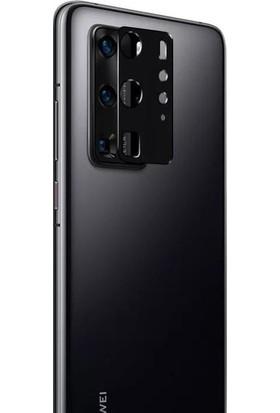 Teleplus Huawei P40 Pro Tam Kapatan Ekran Koruyucu Siyah + Kamera Lens Koruyucu Metal