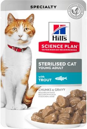 Hill's Science Plan Pouch Young Adult Alabalıklı Yaş Kısır Kedi Maması – 3X85 gr