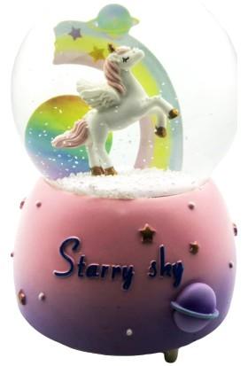 Mankan Unicorn Gökyüzü Motorlu Püskürtmeli Işıklı Müzikli Kar Küresi