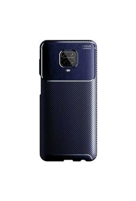 Case 4U Xiaomi Redmi Note 9S / Note 9 Pro Kılıf Karbon Desenli Sert Silikon Arka Kapak Negro + Cam Ekran Koruyucu Lacivert