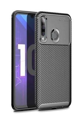 Case 4U Honor 20 Lite Kılıf Karbon Desenli Sert Silikon Arka Kapak Negro Siyah