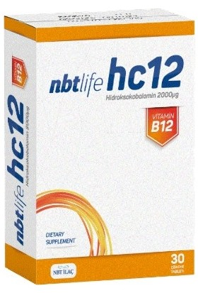 Nbt Life HC12 Hidroksikobalamin Çiğneme Tableti 30 Luk