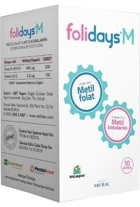 Nbt Life Folıdays M 30 Kapsül (Metilfolat-Metilkobalamin)