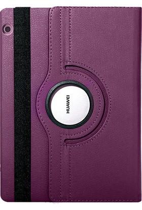 Fujimax Huawei Mediapad T3 10 360 Derece Döner Tablet Kılıf Mor