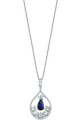 Valentine Diamond Pırlantalı Safirli Kolye - Island